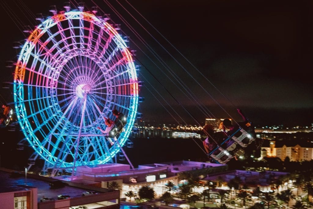 The Wheel & StarFlyer at Night