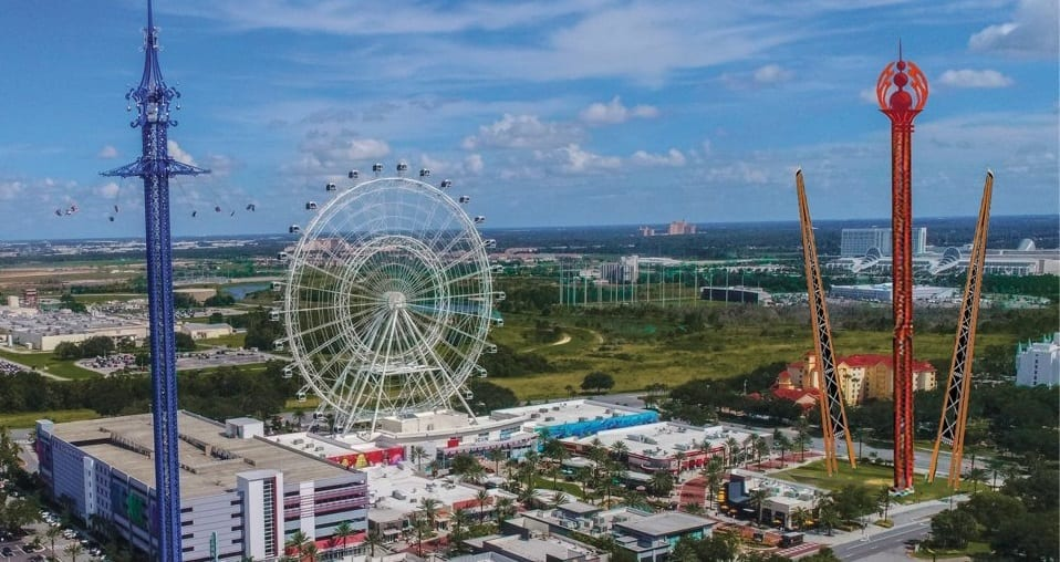 Rendering of The Wheel, StarFlyer and new attractions