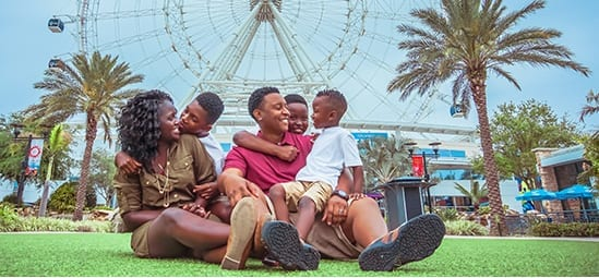 Family sitting on the green in front of the Wheel