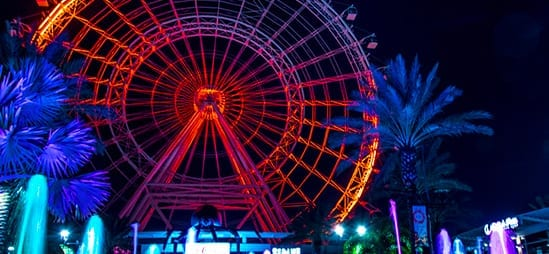 Night time view of the Wheel lit up