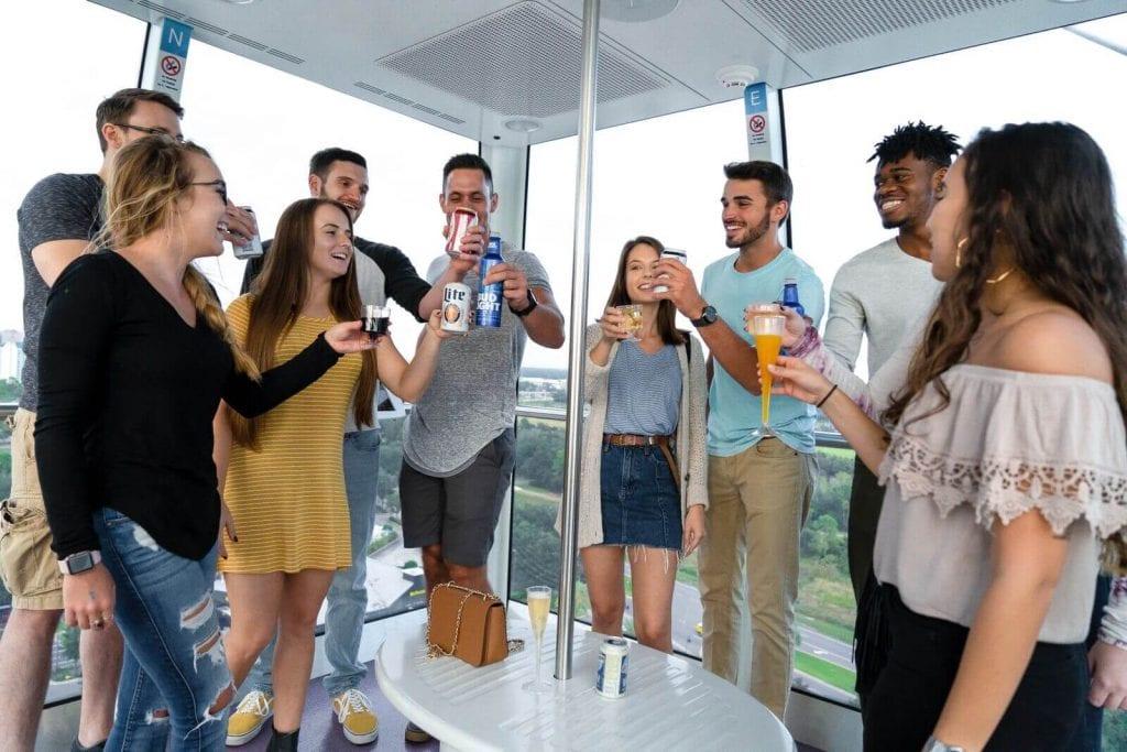 group enjoying the Sky Bar aboard The Wheel
