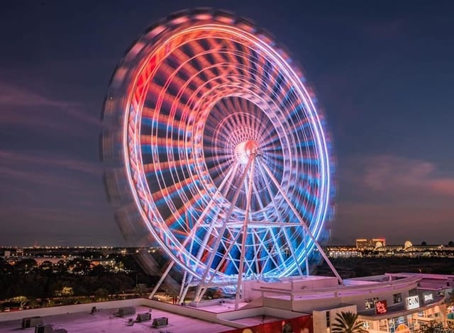 The Wheel with Light's on at night